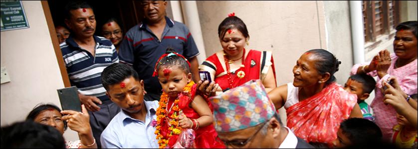 Trisnha Shakya, la nuova Kumari selezionata il 28 settembre 2017.